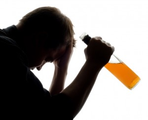 man experiencing some problems with alcohol, conceptual shot